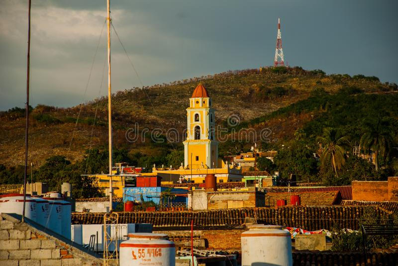 Trinidad, Cuba. Top view of the Cuban city. The bell tower of San Francisco de Asis. royalty free stock images
