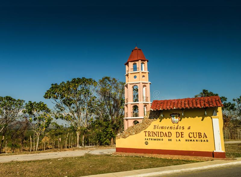 Trinidad Cuba Welcome Sign arkivbilder