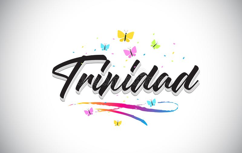 Trinidad Handwritten Vector Word Text con le farfalle e variopinto mormorano illustrazione di stock