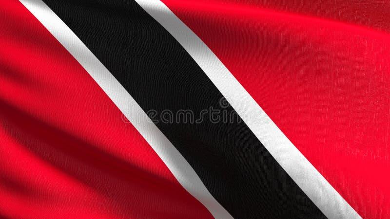 Trinidad i Tobago flagi państowowej dmuchanie w wiatrze odizolowywającym Oficjalny patriotyczny abstrakcjonistyczny projekt 3D re royalty ilustracja