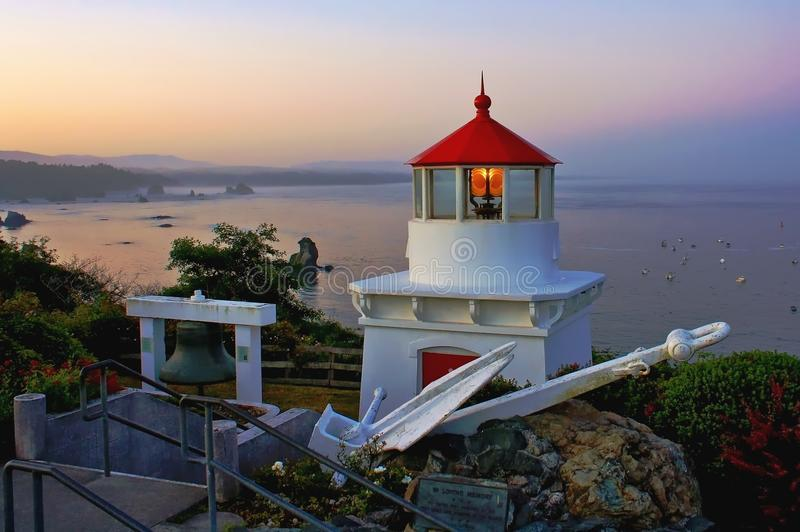 Trinidad Lighthouse in Dawn royalty-vrije stock foto