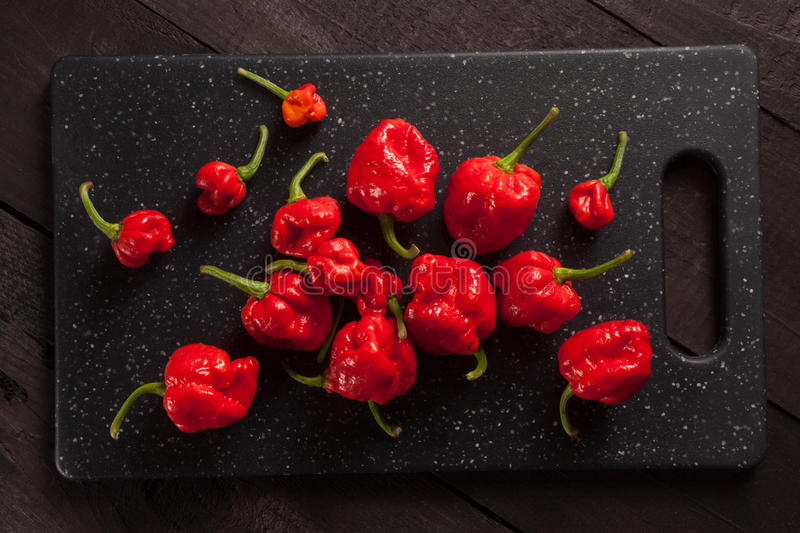 Trinidad moruga scorpion peppers stock images