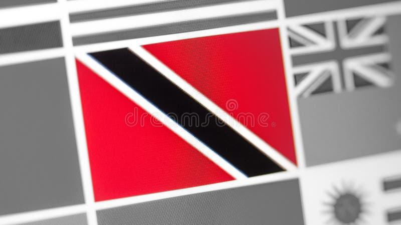 Trinidad och Tobago nationsflagga av landet flagga på skärmen, en digital moireeffekt arkivfoton