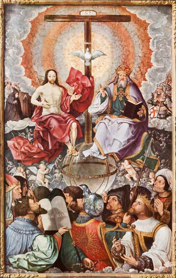 Trinidad santa en cielo. Impresión de la litografía en el romanum de Missale - 1937 imagenes de archivo