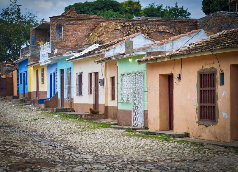 Trinidad Street en Huizen, Cuba royalty-vrije stock fotografie
