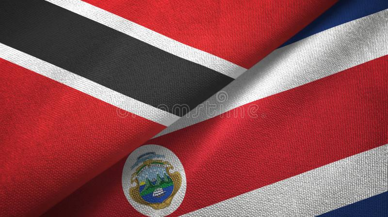 Trinidad and Tobago and Costa Rica two flags textile cloth, fabric texture royalty free illustration