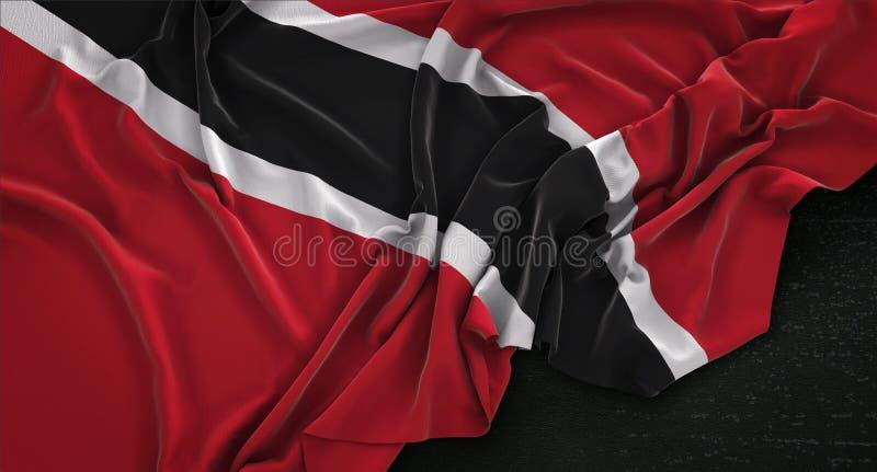 Trinidad and Tobago Flag Wrinkled On Dark Background 3D Render. Digital Render royalty free illustration