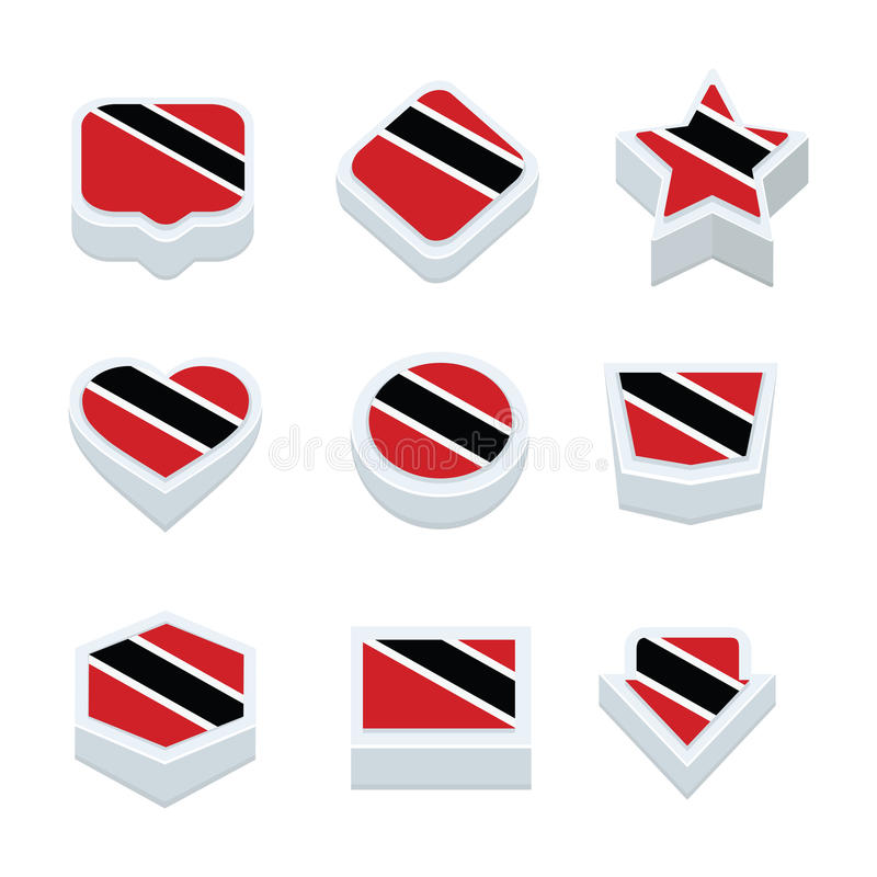 Trinidad & tobago flags icons and button set nine styles. Flags icons and button set nine styles vector illustration