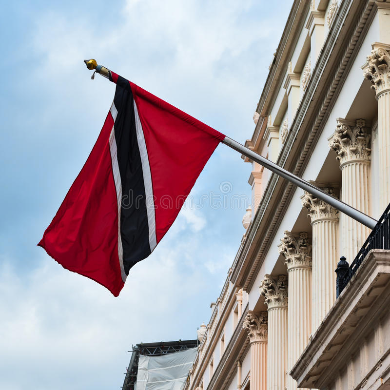 Trinidad and Tobago high commission London Flag. Waving in the wind stock photo