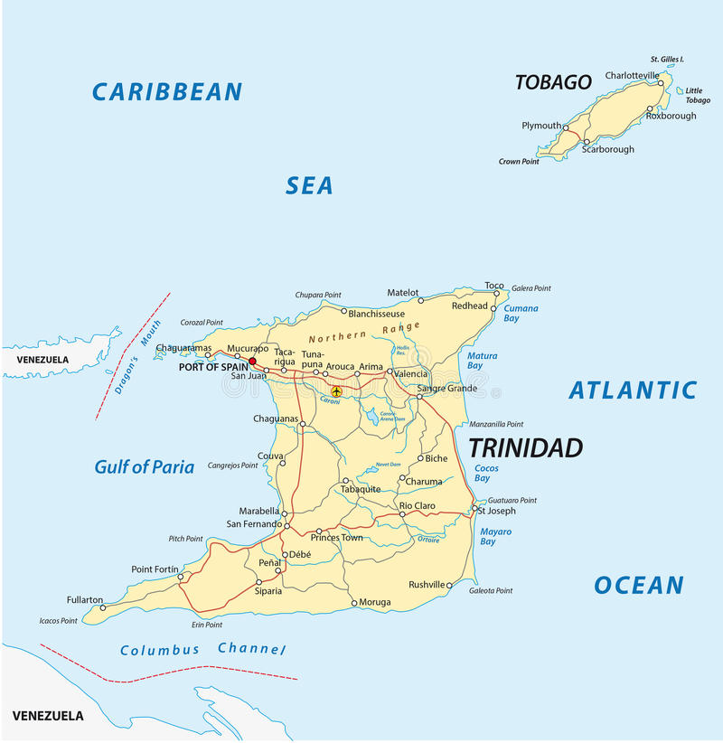 Trinidad And Tobago Road Map Stock Illustration Illustration of