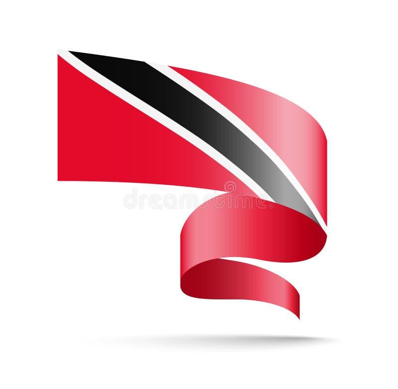 Trinidad and Tobago señalan por medio de una bandera bajo la forma de cinta de la onda ilustración del vector