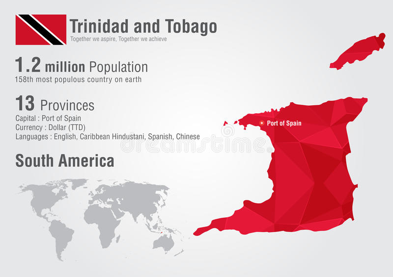 Trinidad And Tobago World Map With A Pixel Diamond Texture Stock
