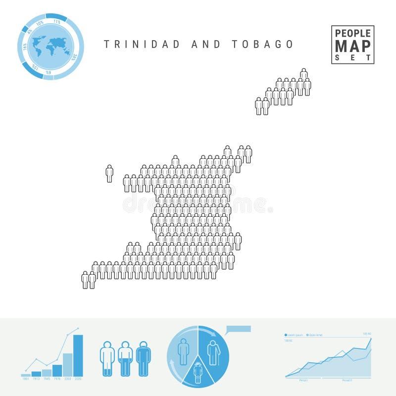Trinidad und Tobago-Leute-Ikonen-Karte Stilisiertes Vektor-Schattenbild Bevölkerungszuwachs und Altern Infographics lizenzfreie abbildung