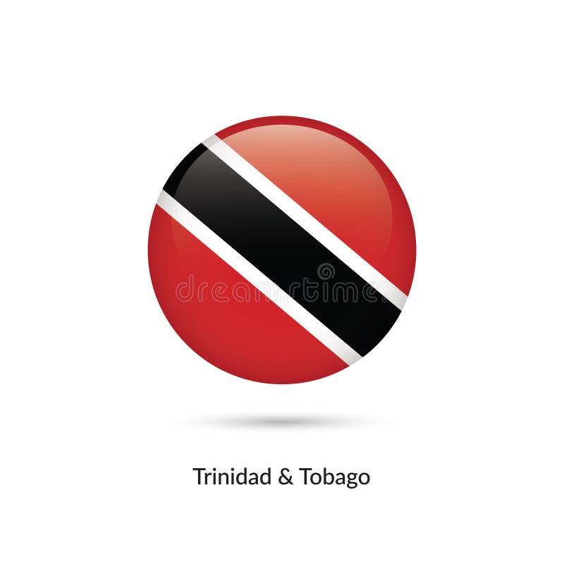 Trinindad och Tobago flagga - rund glansig knapp stock illustrationer
