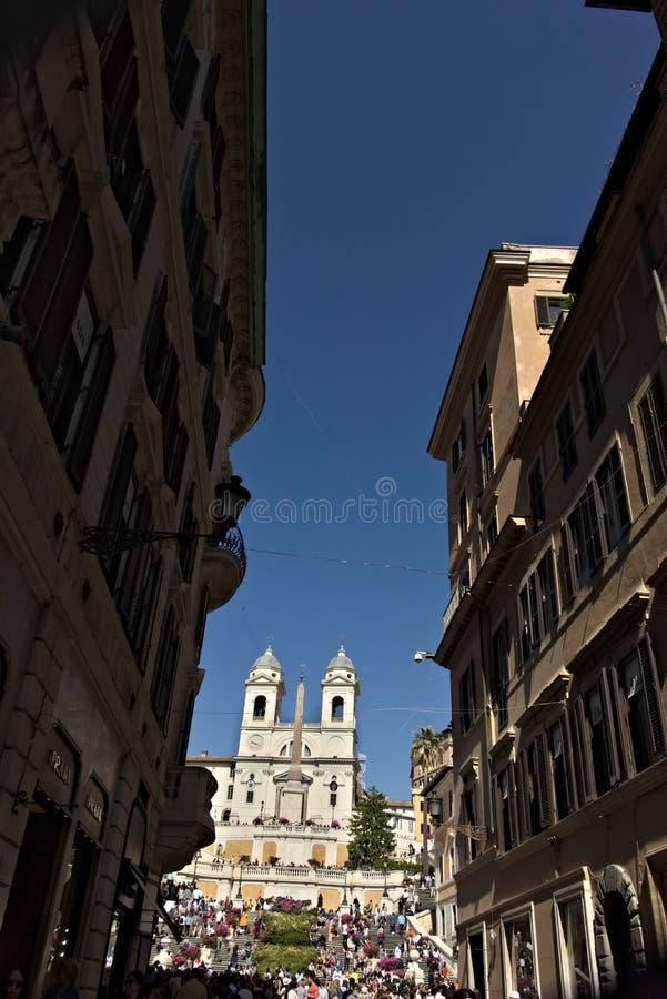 Trinità de kerk en de trap van deimonti in Rome royalty-vrije stock afbeelding