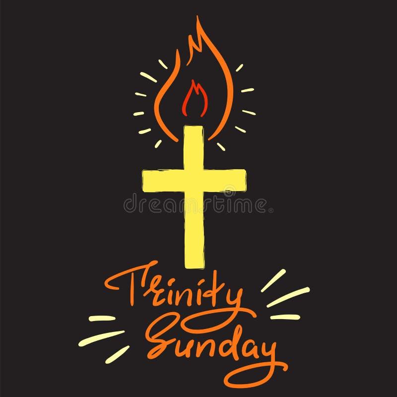 Trinité dimanche - lettrage de motivation de citation, affiche religieuse Copie pour l'affiche illustration stock