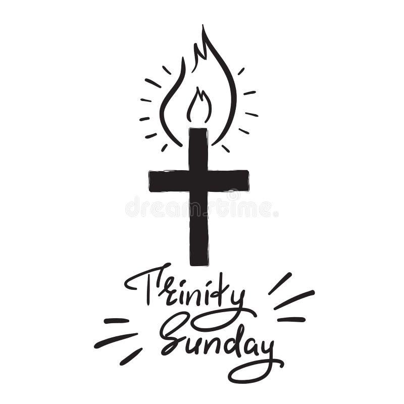 Trinité dimanche - lettrage de motivation de citation, affiche religieuse Copie pour l'affiche, livre de prière, illustration stock