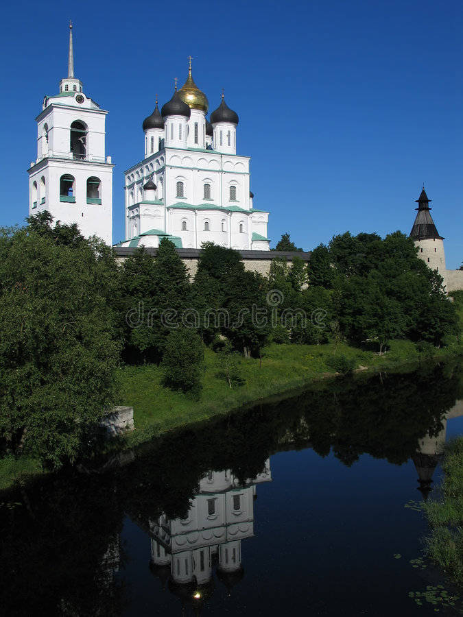 Trinity Cathedral in Pskov Kremlin. View of Trinity Cathedral in Pskov Kremlin. (Pskov, Russia stock photography