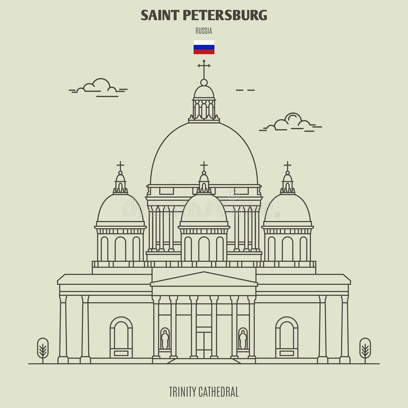 Trinity Cathedral in Saint Petersburg, Russia. Landmark icon vector illustration