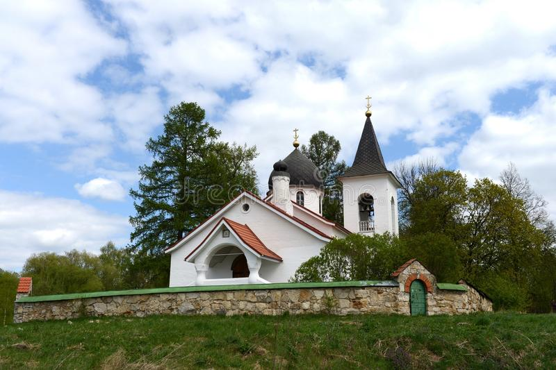 Trinity Church in the village Byokhovo constructed in 1906 on the project of V. Polenov. POLENOVO, RUSSIA - MAY 3, 2014: State history-art l Museum-reserve of royalty free stock photography