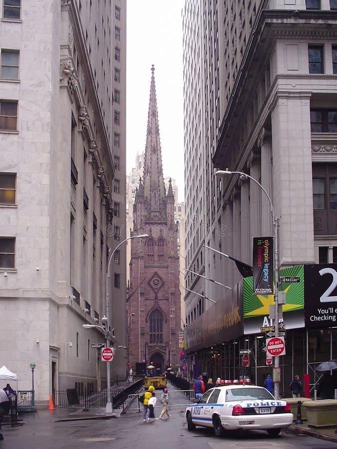 Trinity Church from Wall Street stock image