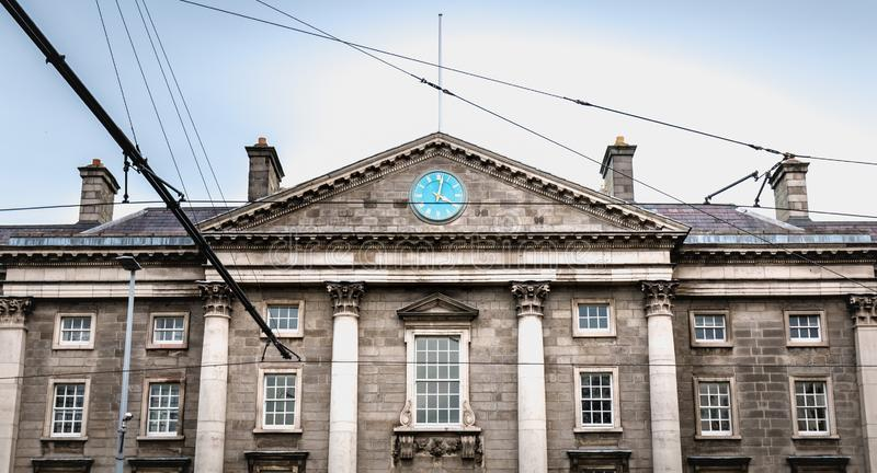 Trinity College architecture detail in Dublin, Ireland. Dublin, Ireland - February 11, 2019: Trinity College architecture detail in downtown on a winter day stock photos