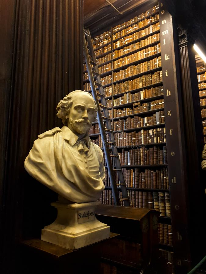 Trinity College Library Bust of Shakespeare royalty free stock photography