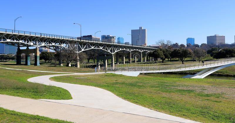 Trinity Trails Park Skyline, Fort Worth Texas. Trinity Park in Fort Worth Texas contains an extensive multi acre area of running, bike trails and recreational royalty free stock photos