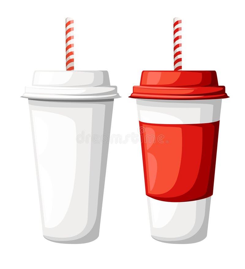 Trinken Sie in einer Schale des roten und Weißbuches mit Stroh Abbildung getrennt auf weißem Hintergrund stock abbildung