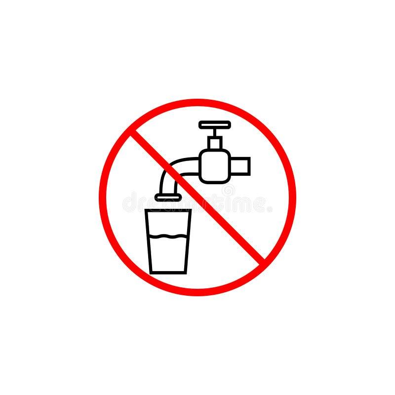 Trinken Sie nicht Wasserlinie Ikone, Verbotszeichen vektor abbildung