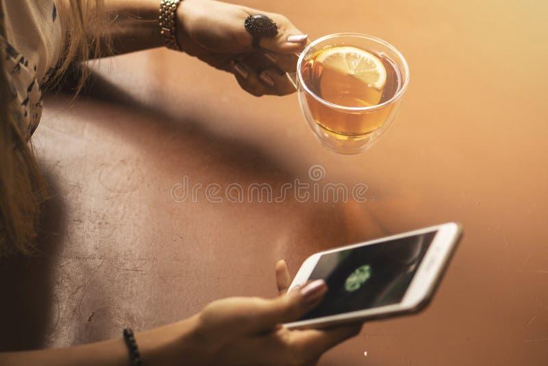 Trinken Sie Tee, angenehmes Foto mit unscharfem Hintergrund sich zu entspannen Weibliche Hände, die Becher heißen Tee am Morgen h lizenzfreie stockfotografie