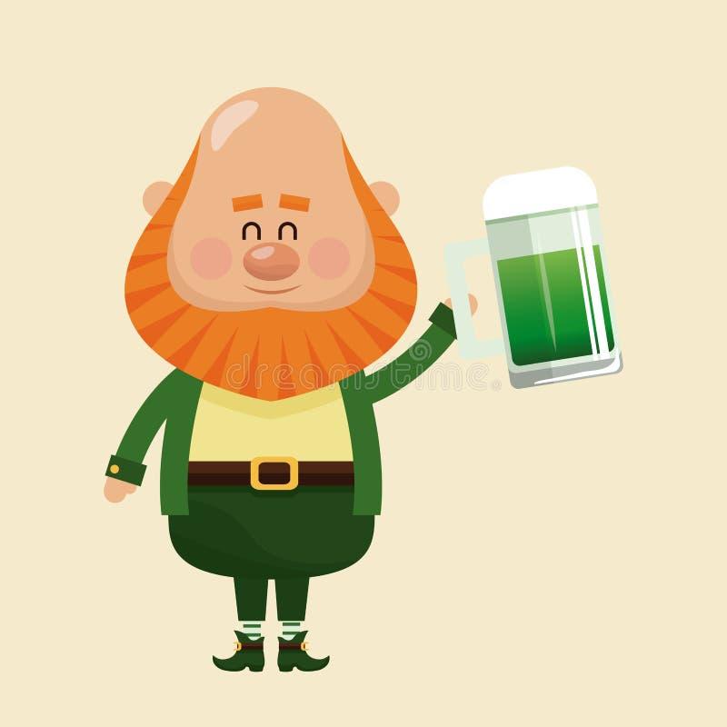 Trinkende Bierfeier des Kobolds stock abbildung