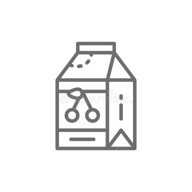 Trinkender Jogurt in einer Papierkastenlinie Ikone lizenzfreie abbildung