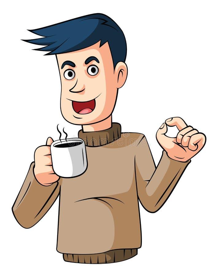Trinkender Kaffee lizenzfreie abbildung