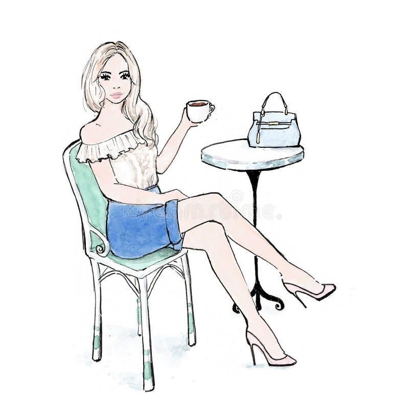 Trinkender Kaffee der Frau am Straßencafé in Paris mit fantastischer Handtasche - Aquarellmodeillustration vektor abbildung