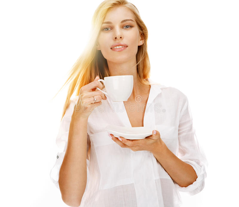 Trinkender Kaffee der Schönheit stockfotografie