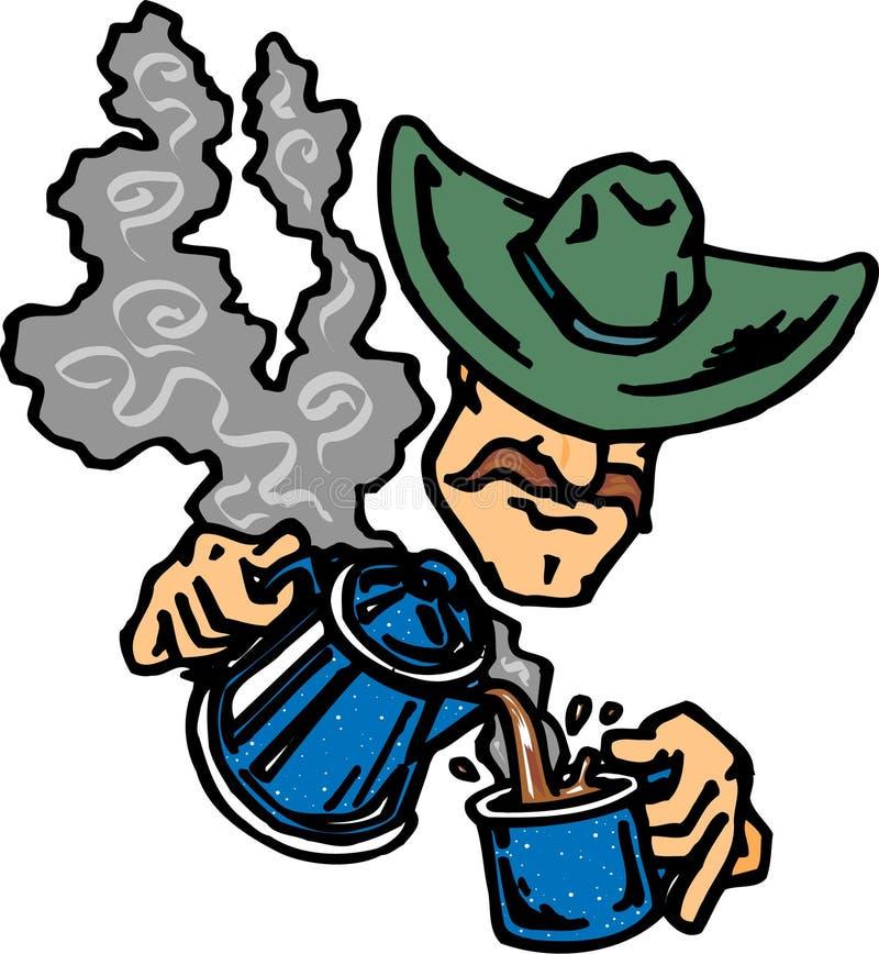 Trinkender Kaffee des Cowboys stock abbildung