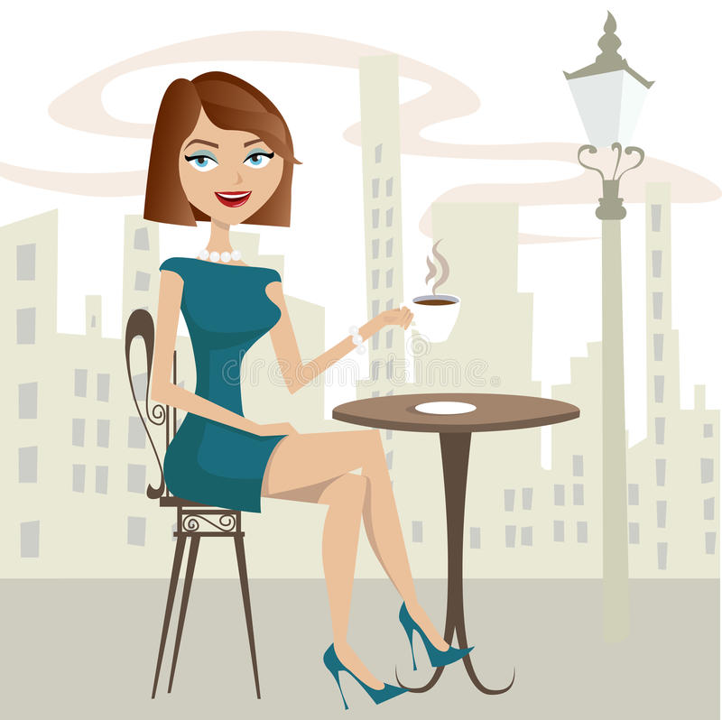 Trinkender Kaffee des Mädchens stock abbildung