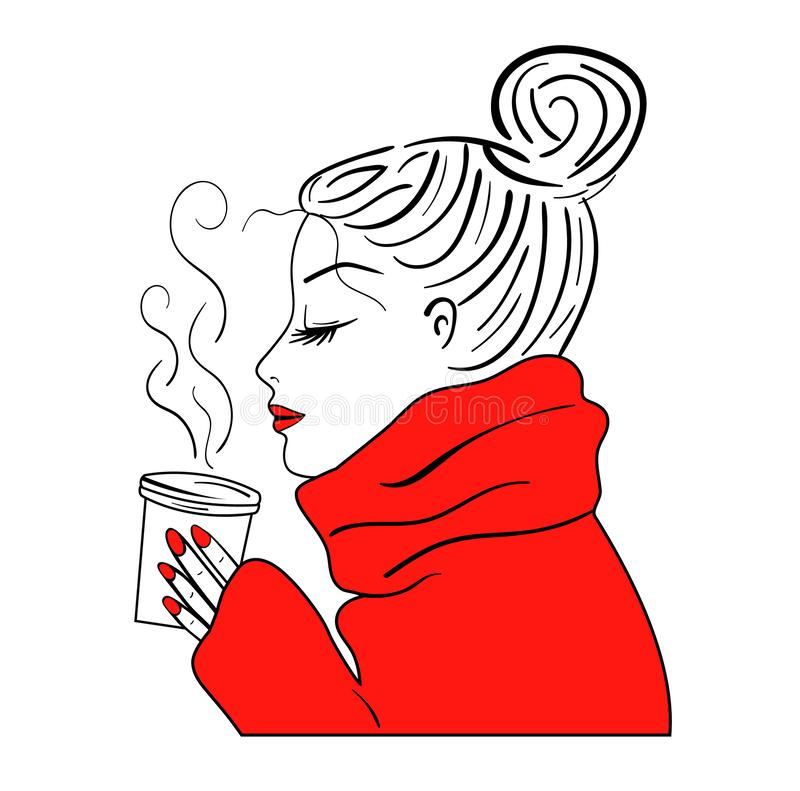Trinkender Kaffee des Mädchens, Vektor, Skizze stock abbildung