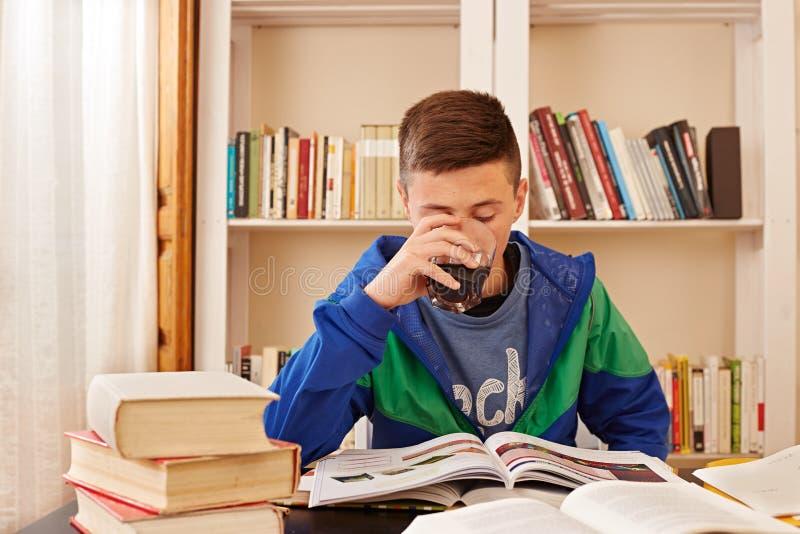 Trinkender Koks des männlichen Jugendlichen beim Studieren stockfotos