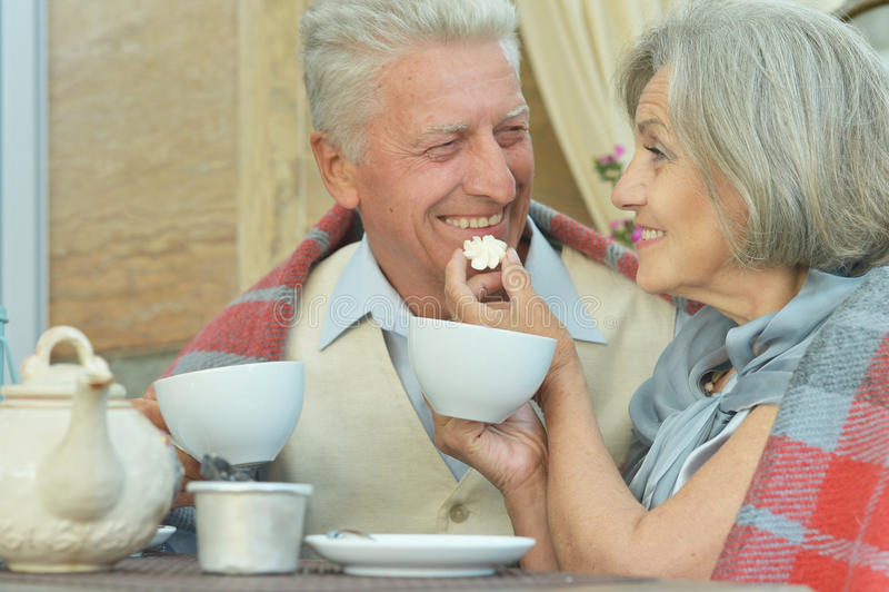 Trinkender Tee der alten Paare stockfotografie
