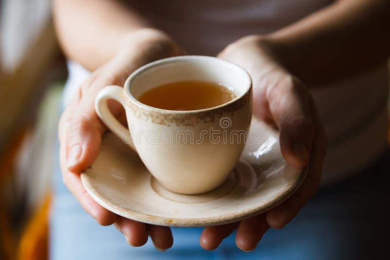 Trinkender Tee der Frau lizenzfreie stockbilder