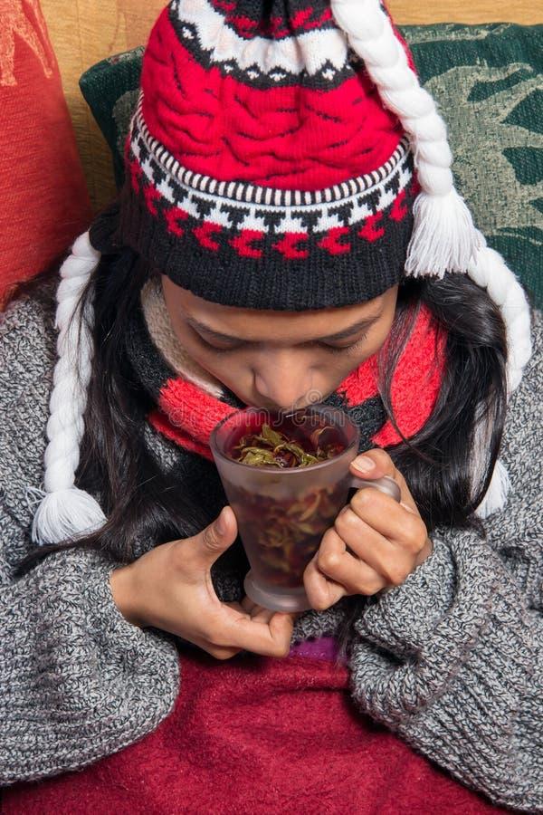 Trinkender Tee der Frau stockfotos