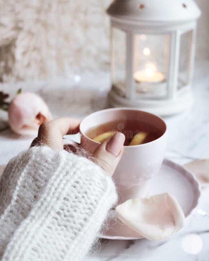 Trinkender Tee mit Zitrone und Nelken lizenzfreies stockfoto