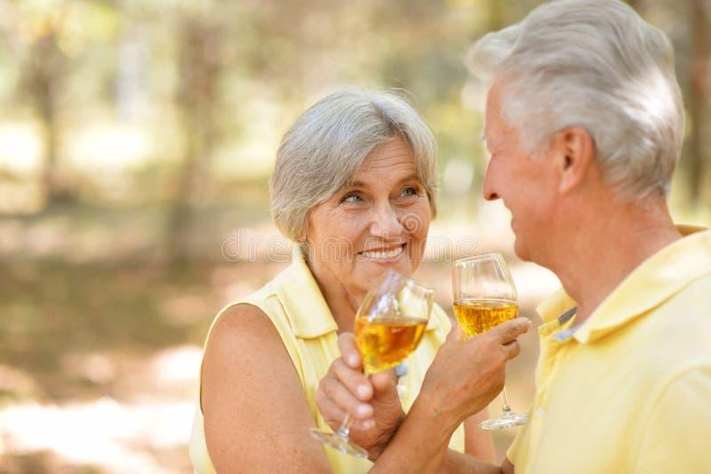 Trinkender Wein der fälligen Paare stockfoto