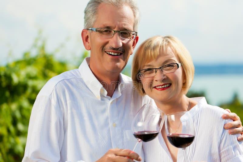 Trinkender Wein der glücklichen Paare in See am Sommer stockfotos