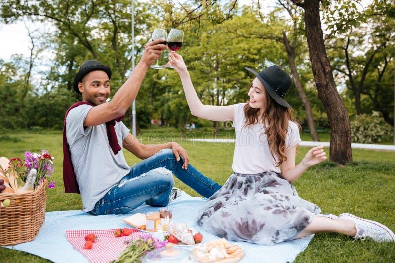 Trinkender Wein der netten Paare auf Picknick lizenzfreies stockbild
