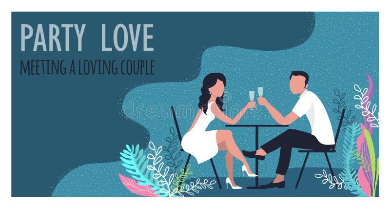Trinkender Wein des Mannes und der Frau auf der Küste in den Tropen Karikaturdesign Vektorillustration lizenzfreie abbildung