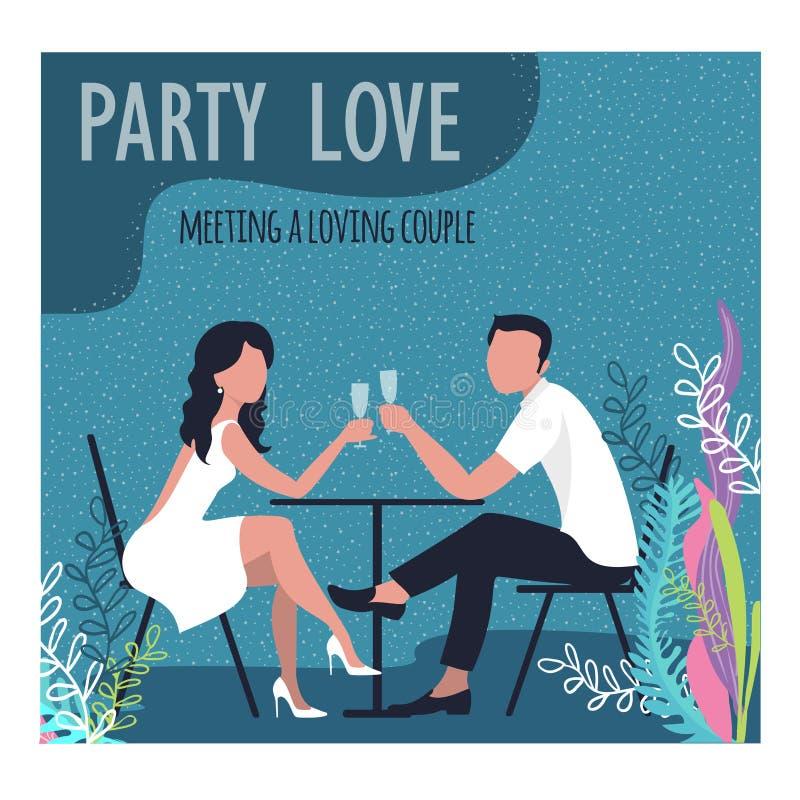Trinkender Wein des Mannes und der Frau auf der Küste in den Tropen Karikaturdesign Vektorillustration vektor abbildung