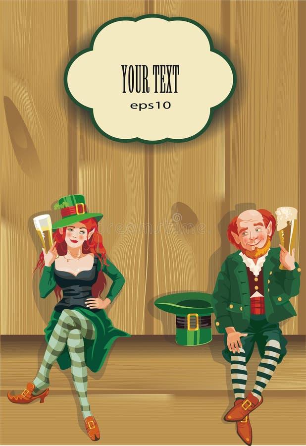 Trinkendes Bier Elfs, St Patrick Tageshintergrund lizenzfreie abbildung